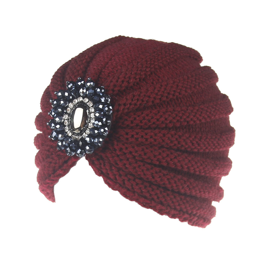 XDOMI 2018 Fashion Women Hat Cap Ladies Metal Jewel Accessory Winter Warm gem Turban Soft Knit caps Beanie Crochet hats Y18110503