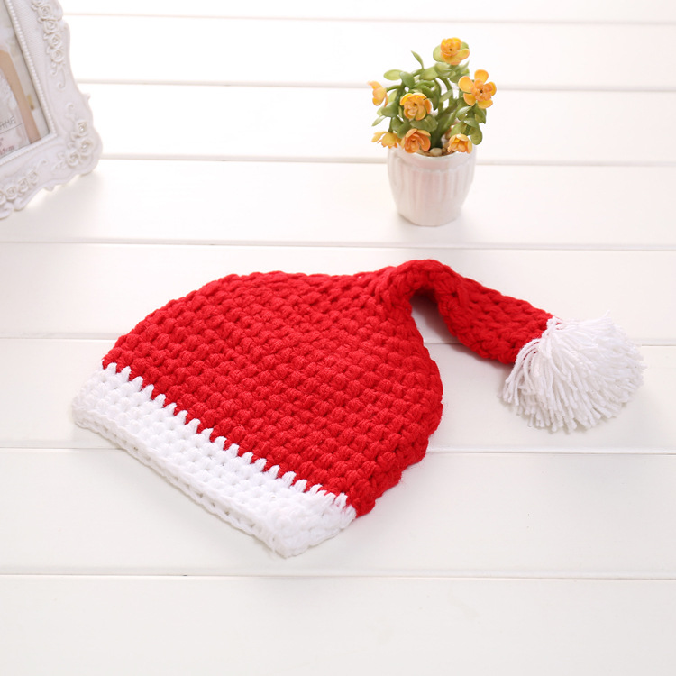 Newborn Baby Santa Claus Photo Props Infant Baby Christmas Hat Diaper Set Crochet Baby Hat Shorts Set for Photo Shoot
