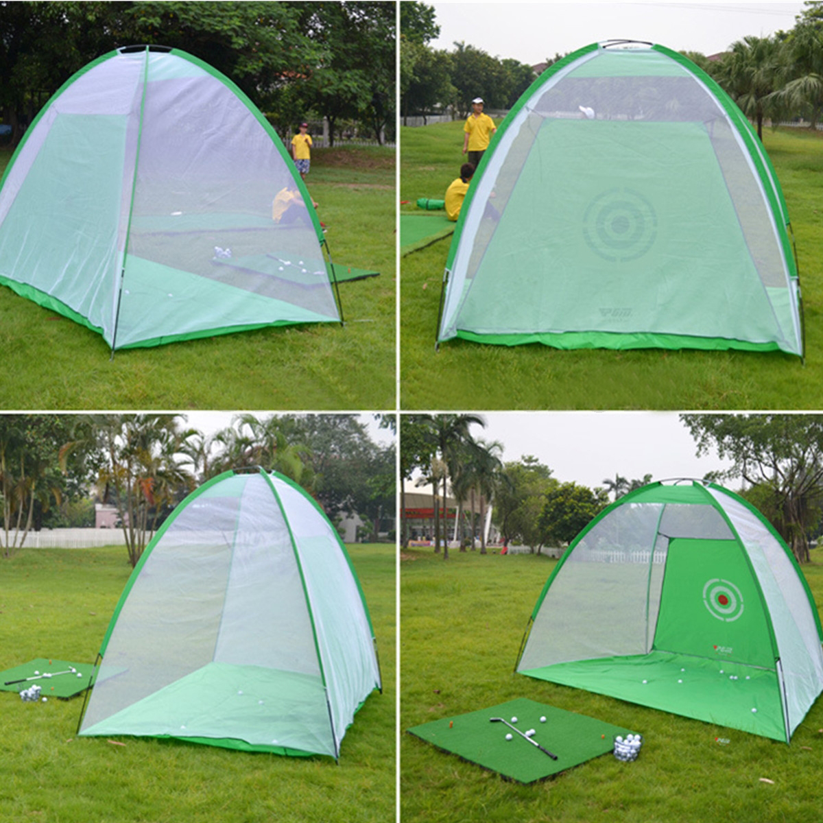 MAYITR Green Foldable Golf Practice Cage Driving Hitting Net Training Indoor Outdoor Net Set Golf Aid Portable Removable Mat