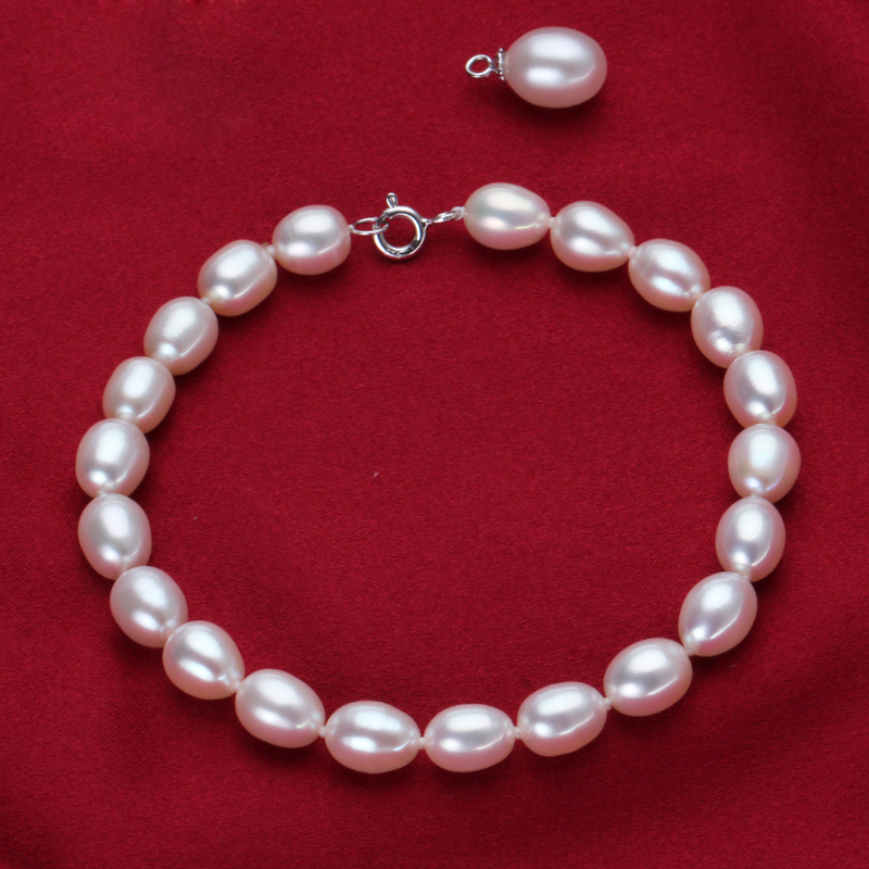 Freshwater 100% Natural White pearl Bracelet,sterling silver jewelry 925 bracelet,for women best birthday gifts wedding S18101507