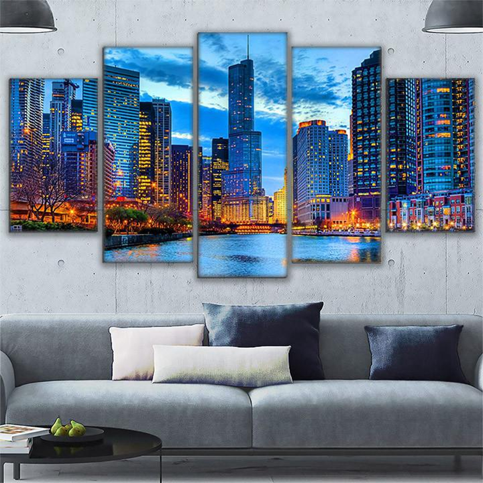 Pictures Canvas Wall Art Frame Kitchen Restaurant Decor Chicago City Night View Living Room HD Printed Painting Posters