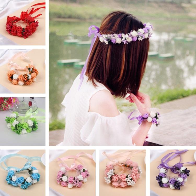 Süße Mädchen Frauen Rose Blume Krone Stirnband Kranz Party HochzeitHeadwear VE