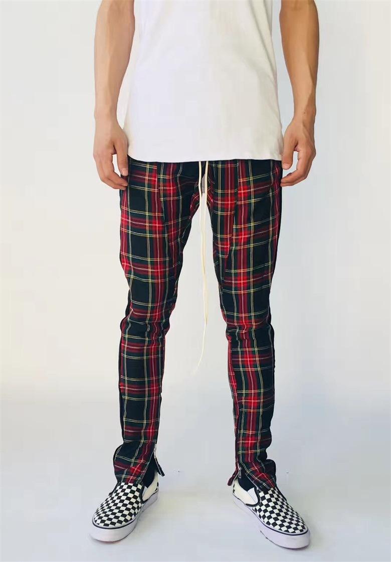 Neu schottische karierte Mens-seitliche Streifenhose karierte Joggerhose Hip Hop