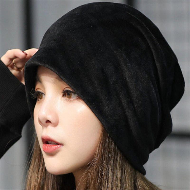 Casual Winter Velvet Warm Slouch Hip Hop Hats for Women Solid Baggy Skullies Beanies Hat Female Fashion Cap Women Y18102210