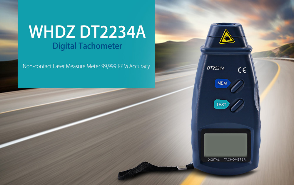 WHDZ DT2234A Digital Tachometer Non-contact Laser Measure Meter 99,999 RPM Accuracy