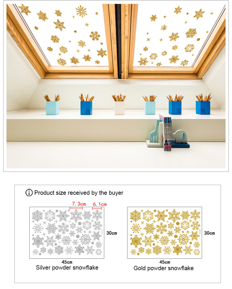 2019 New Year Gold Powder Silver Powder Snowflake Christmas Decorations for Home Window Glass Background Decoration Sticker (10)