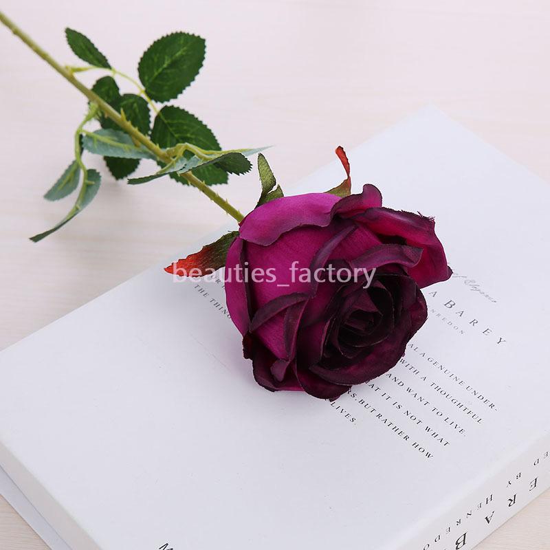 10 unids Artificial Seda Rosa Flor Fake Leaf Home Party Jardín Decoración de la boda Color Rojo / Rosa / Verde / Púrpura / Champagne