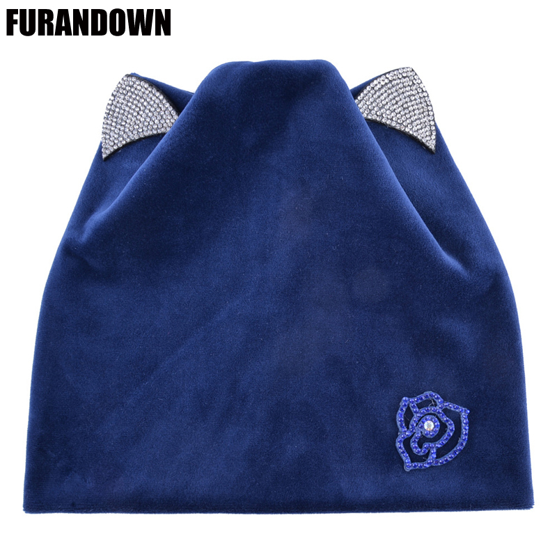 Autumn Women Knitted Winter Cat Ears Cap Rhinestone Beanies For Ladies Warm Soft Velvet Flannel Hats For Girls D18110102