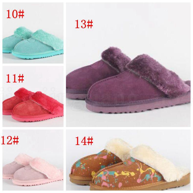 Hiver Fourrure Slipper Maison Intérieur Maison Antidérapant Chaussures Doux Hommes Femmes Adolescent Bottes Courtes Plus taille neige Botte Chaussures D'intérieur KKA6040