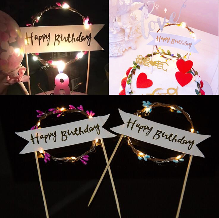 2018 New LED Light Up Flashing Flower Cake Toppers Cake Flag Table Decoration Birthday Event Party Supplies