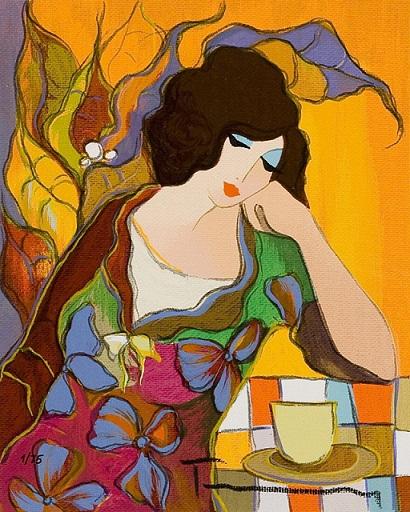 Canvas Painted Painting Itzchak Tarkay Lady Dressed In Puple Multi Sizes#P059