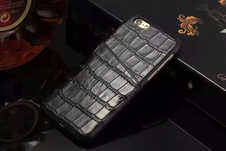 black color real leather case for iPhone 6 6S Plus