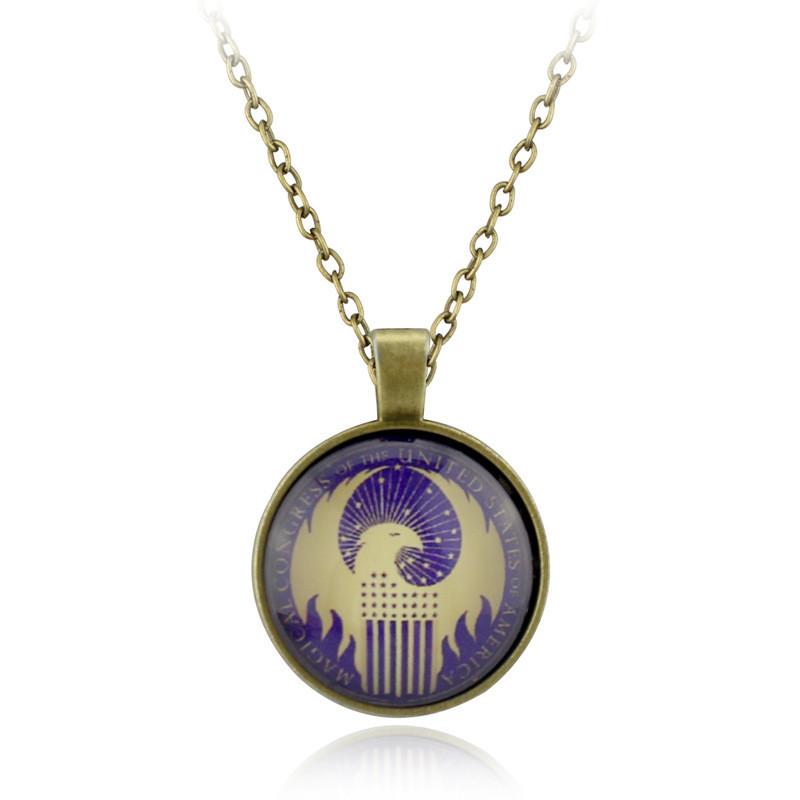 Vintage Live Free Eagle Black Cabochon Glass Necklace chain Pendant
