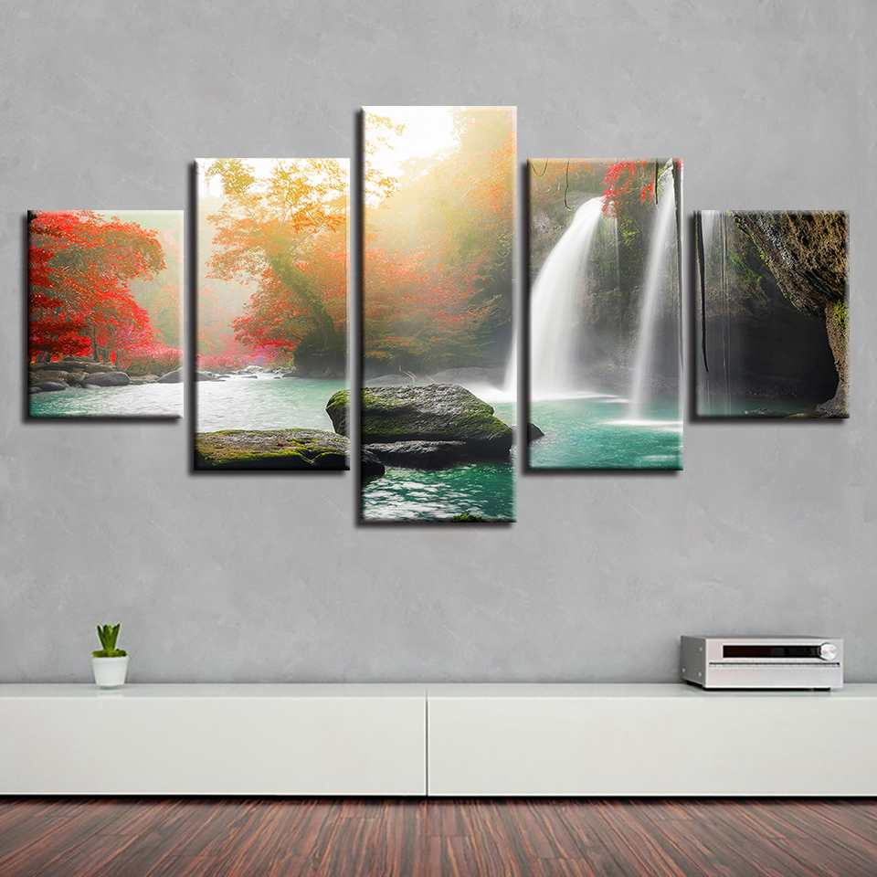 Living Room Wall Art Paintings Decor HD Printed Modern Waterfall Red Tree Natural Scenery Poster Modular Canvas Picture