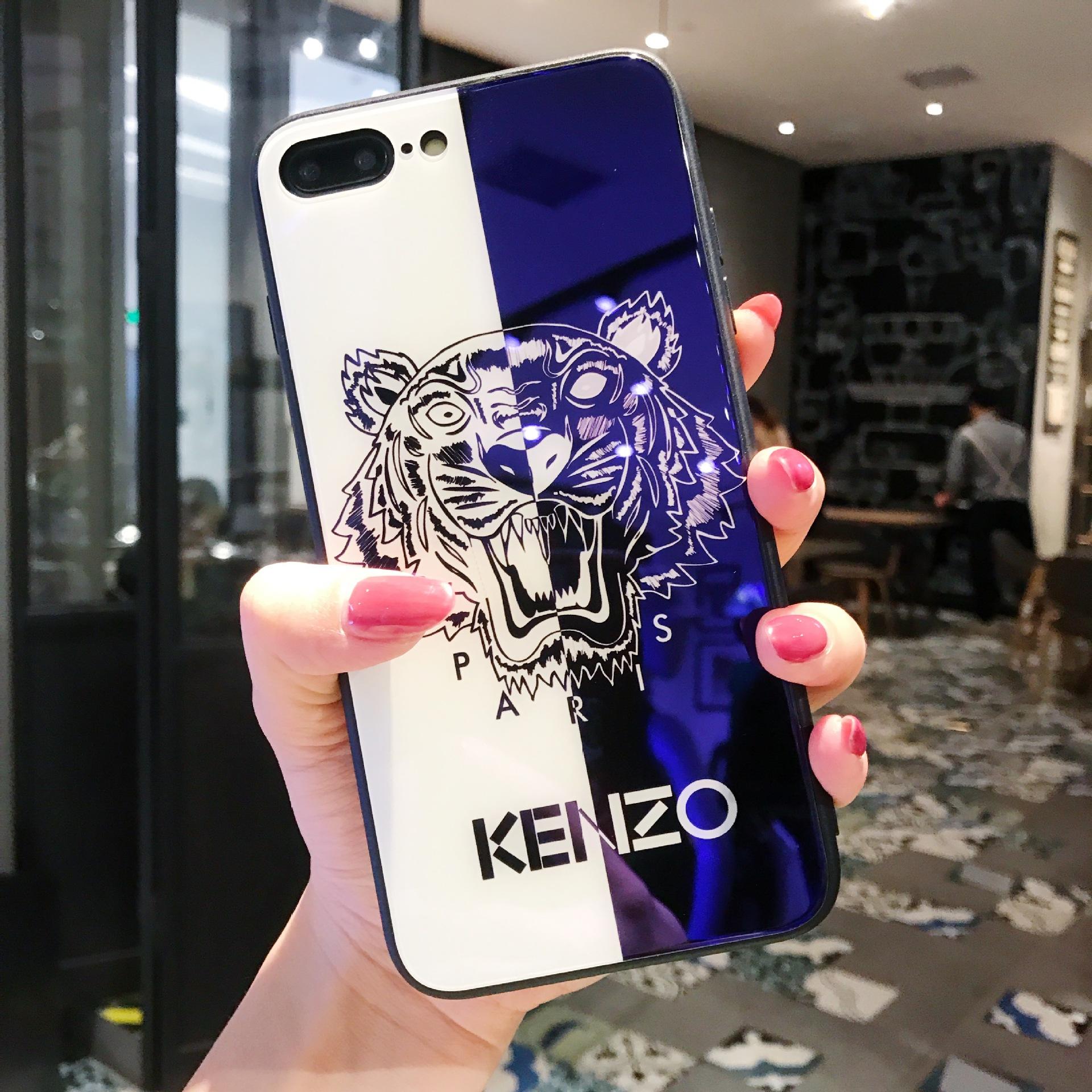 Barato Tiger pintado marca Blue Ray vidrio templado I caja del teléfono TPU contraportada para IPhoneX 7 / 8P 7/8 6sP iPhone 6 / 6s es disponibles