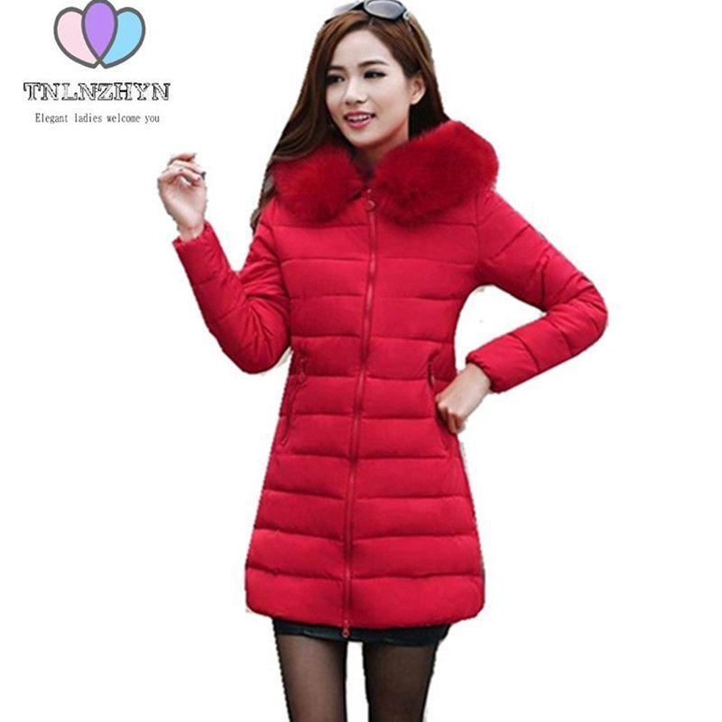Down padded Winter Jacket 2017Women Large size Women Korean Slim Thicken  Warm Hooded Fur collar Medium long Pure color CoatG0384 3cb42e28a