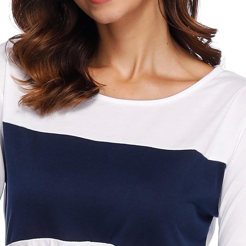 Autumn Women T-shirt Color Block Splicing Design Round Neck Long Sleeve Simple Casual Basic Tee Tops Elegant Ladies Tshirt White