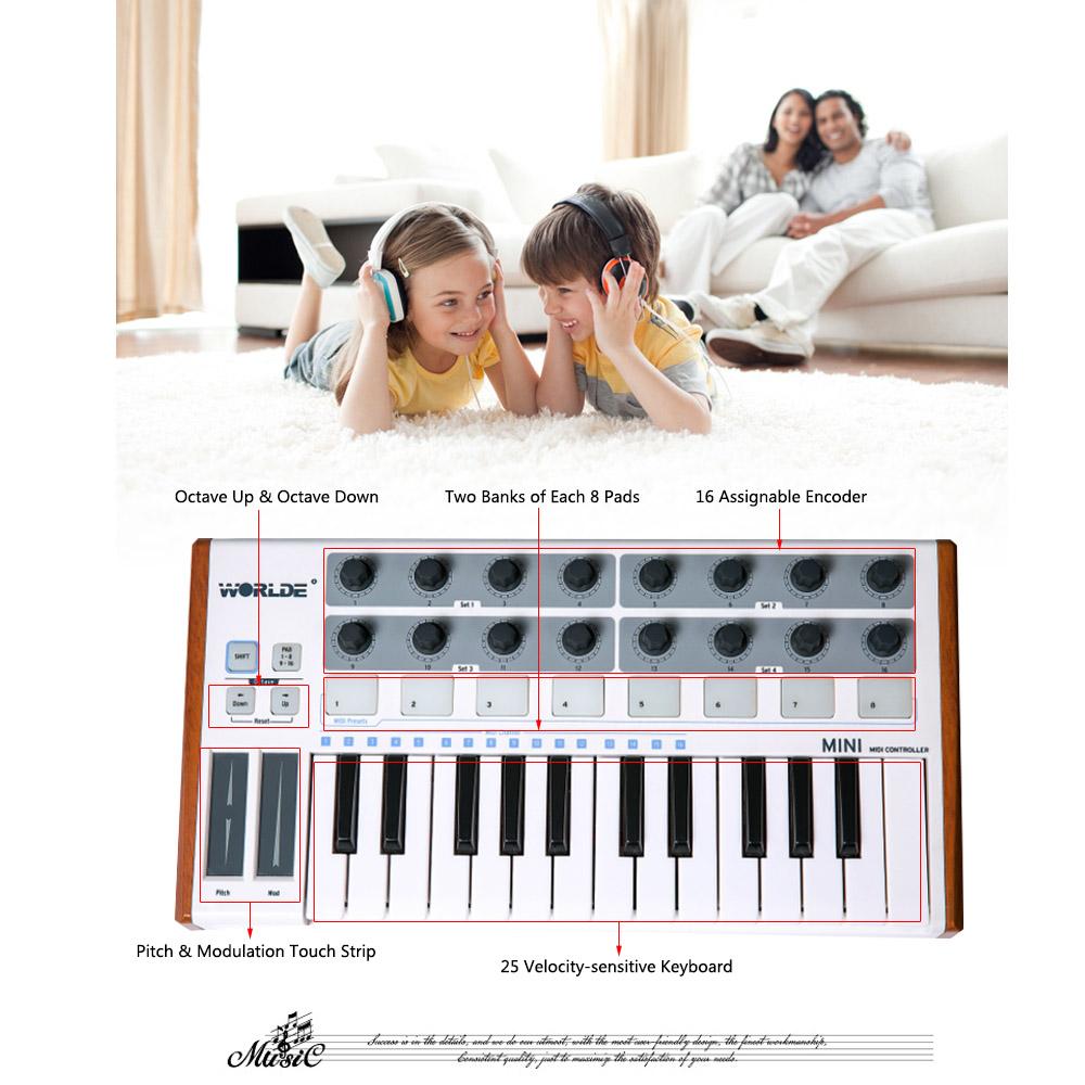 Ultra-Portable Mini Professional 25-Key USB MIDI Drum Pad and Keyboard Controller