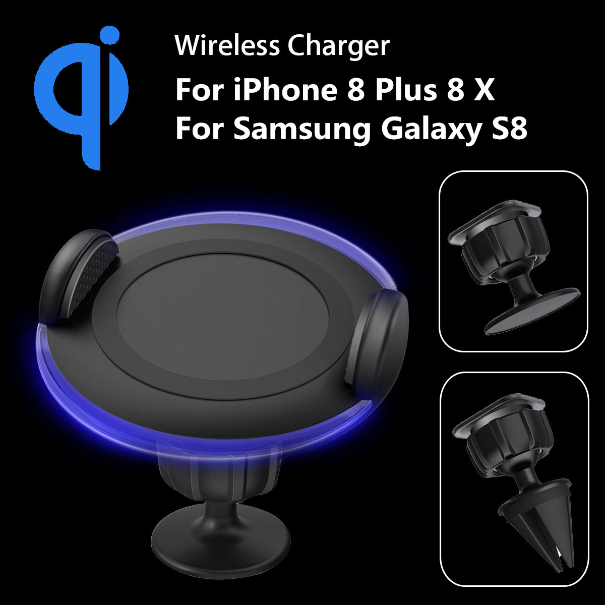 QI Wireless Charger Pad 360 Rotary Car Charger Holder Dock for iPhone Air Vent Dashboard Mount Holder For Mobile Phone with LED