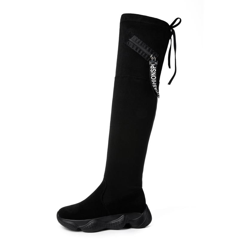 Femmes cuir véritable long genou noir uk 4 bottes éclair sur l/'intérieur