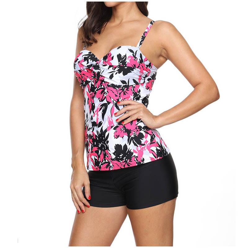 FS Female Floral Leaves Print Long Sport Swimsuit High Waist Trunks Bikinis Set Wrap Swimwear For Women Brazilian Bathing Suits_1