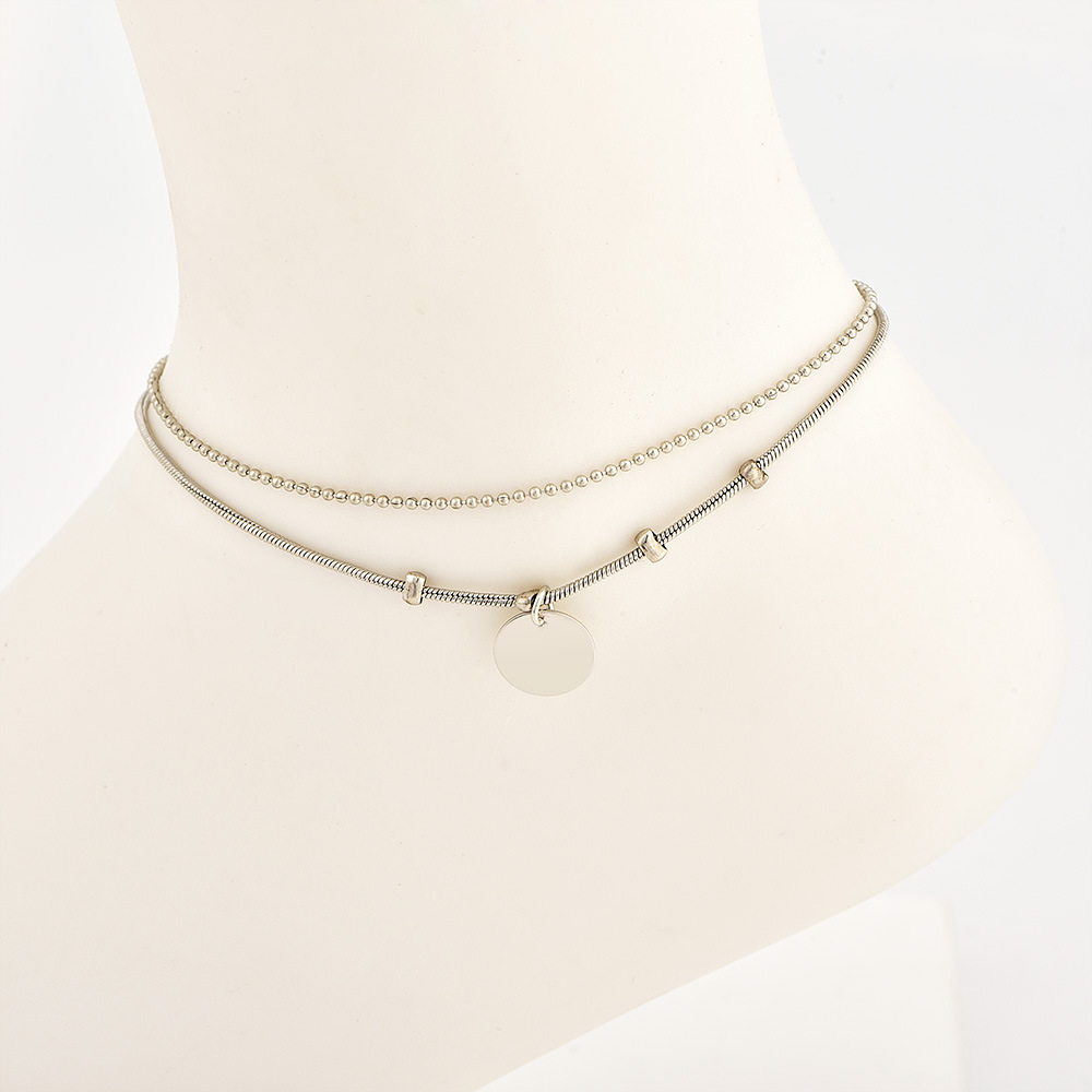 Bohemian Retro Beaded Chain Round Pendant Gold Silver Double Anklet Fashion Jewelry Beach Accessories for Women