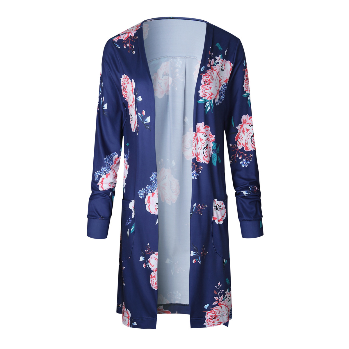 Plus Size Long Sleeve Cardigan Floral Print Thin Coat 2018 Autumn Open Stitch Women Sweaters and Cardigans Pockets Long CoatsY1882402