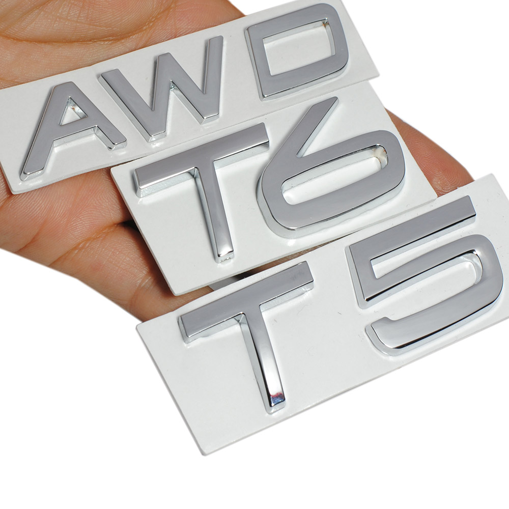 1Pcs T5 Metal Car Trunk Gate Lid Sticker Emblem For V60 S60 XC60 S80 V40 XC90