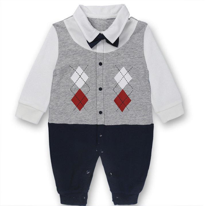Cotton Baby Rompers Spring Baby Boy Clothes Roupas Bebe Infant Baby Jumpsuits Girl Clothing Gentleman Newborn Clothes