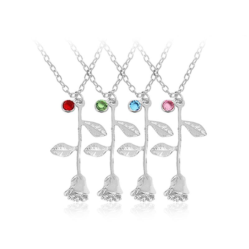 2018 Hot Fashion 925 Silver Gold Plated birthstone red black rose flower pendant necklace for women Valentine's day