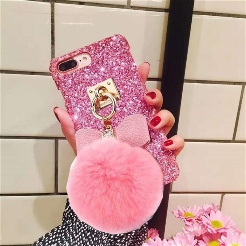 1Pcs Case For iphone 6 6s 7 8 Plus Gemstone Chain Handmade Rhinestone Crystal Fur Fluffy Ball Phone Case For iphone X XR Xs Max
