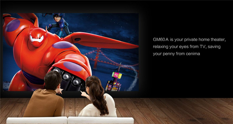 GM60A Mini WiFi Projecteur 1000 Lumens LED Beamer Affichage sans fil HD 1080 P Home Cinéma Pour Jeux Vidéo Support TV HDMI VGA AV USB