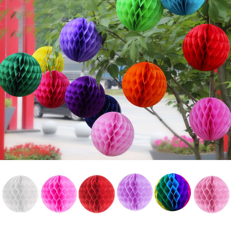 Round Paper Ball Honeycomb Ball With Tissue Flower Chinese Paper Lantern For Wedding Kid Birthday Party Decorations GGA1183