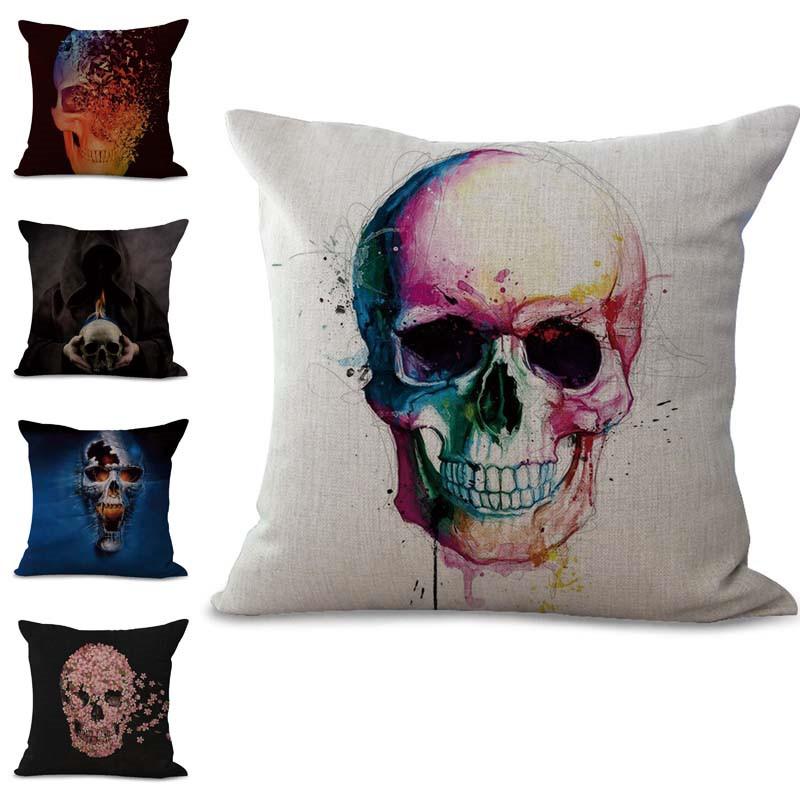 Skull /& Animals Cotton Linen Pillow Case Pillow Cover Cushion Cover Home Decor