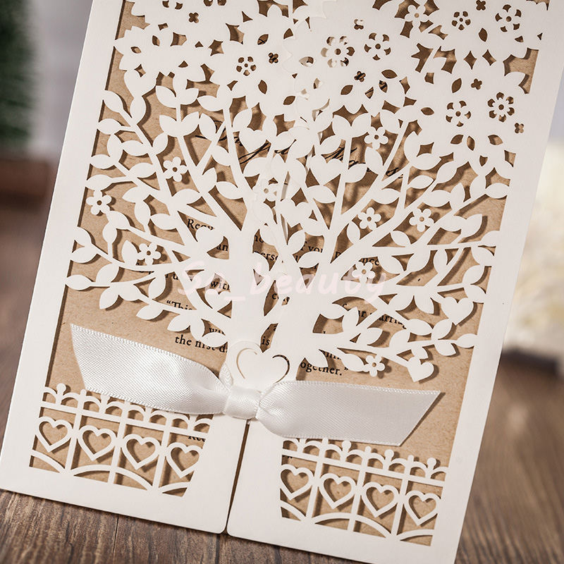 Laser Cut Wedding Invitation Card Tree Pattern with Envelopes Wedding Day Evening Party Invitations Cards Printing Personalized 6176