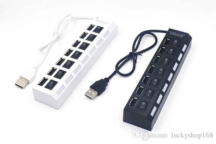 Hohe Qualität 7 Ports LED USB Hubs High Speed Adapter USB Hub Mit Power on / off Schalter Für PC Laptop Computer DHL