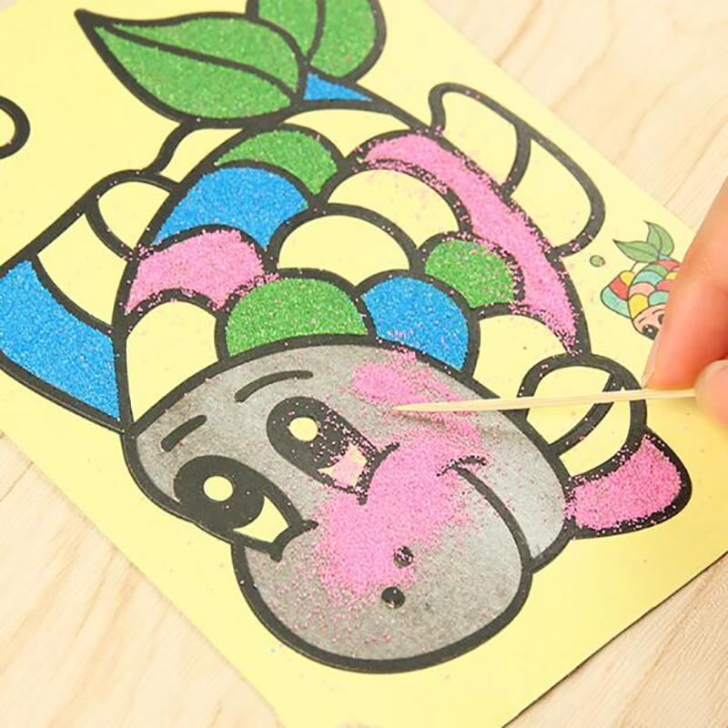 10pcs Kids DIY Color Sand Painting Art Creative Drawing Toys Sand Paper Craft PT