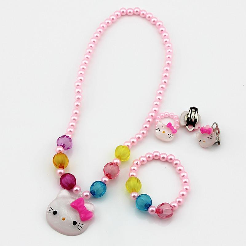 Kids Baby Girls Princess necklaces Crystal Cat Necklace Bracelets Imitation Pearl Beads Jewelry Set Children Party Gift