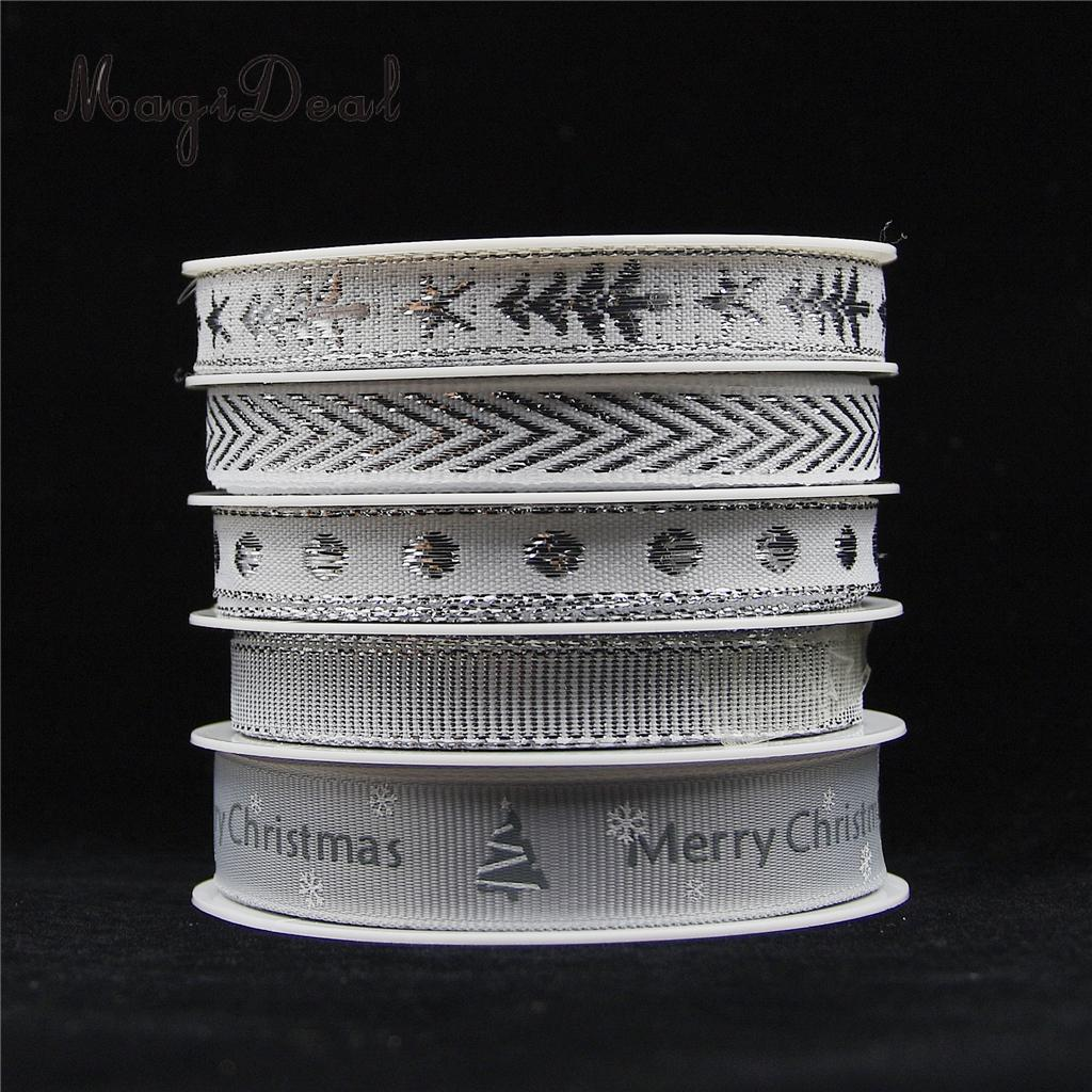 25 Meters Silver Grosgrain Fabric Ribbon Trim Embellishment for Xmas Christmas Gift Wrapping DIY Bow Hair Accessories Crafts