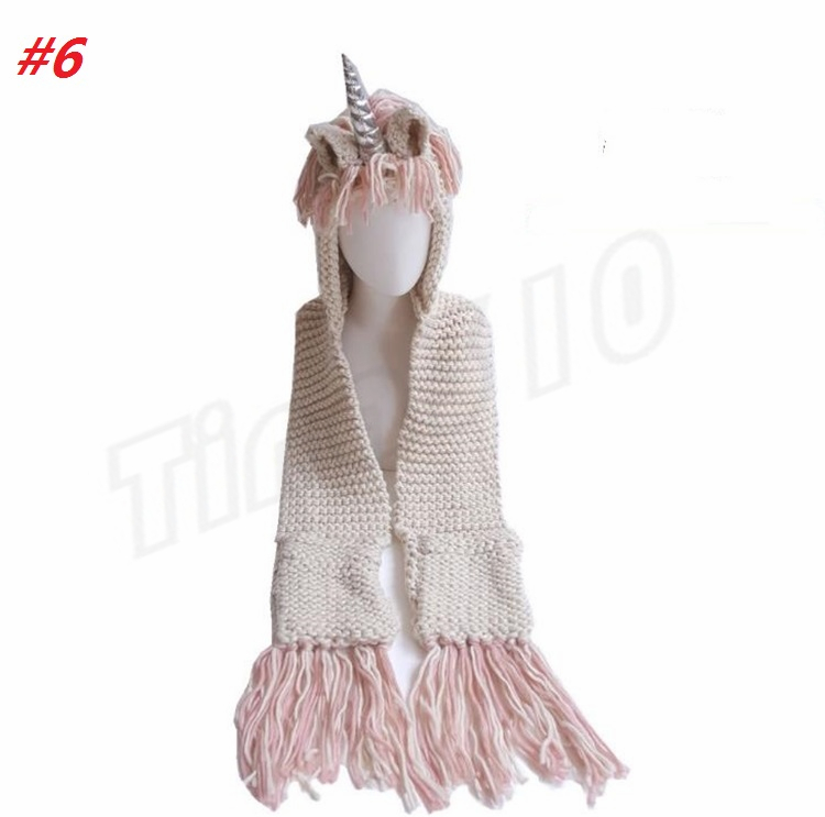 New Unicorn Hooded Scarf Earflap Knitted Cap Cute Unicorn Baby Kid Girls Boy Winter Hat Wrap Unicorn Caps Scarf Party Hats I461