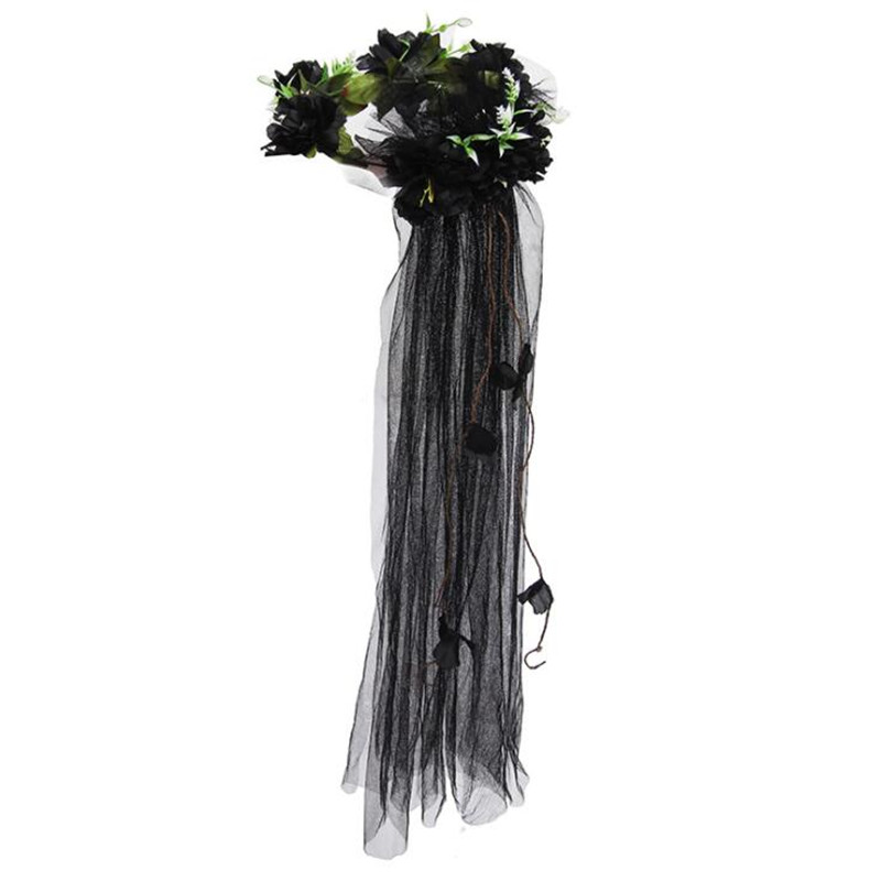 Women Girls Sexy Flower Lace Veil Headband Bridal Floral Wreath Hairbands Hair Accessory Party Favors Christmas Halloween