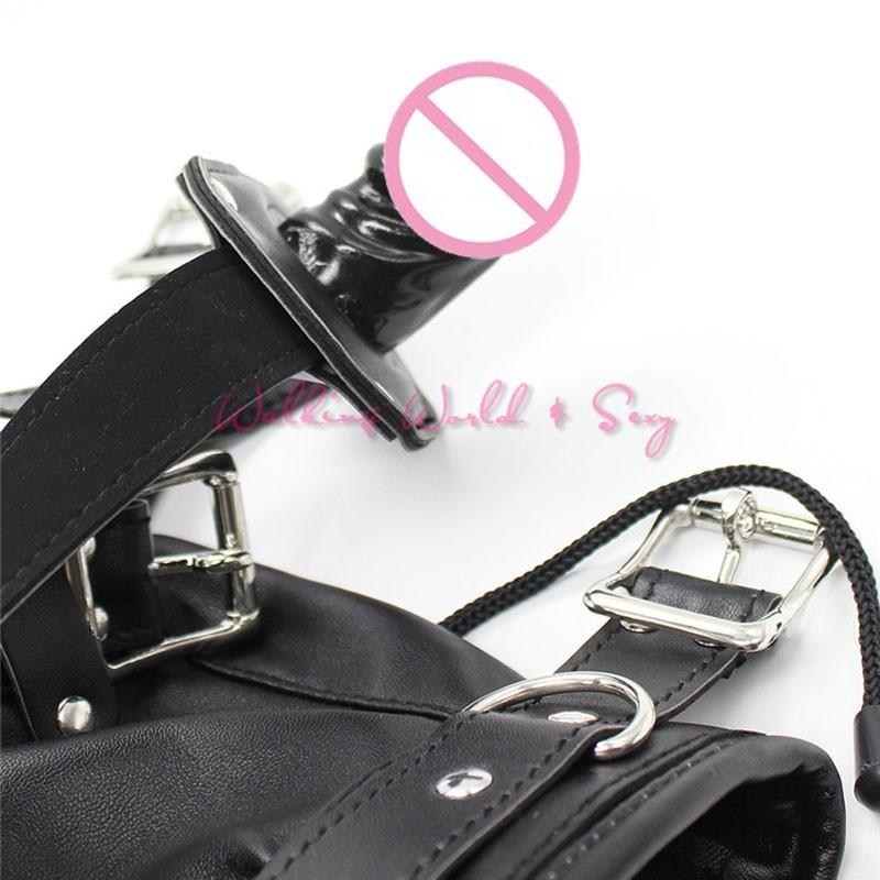 Soft Pu Leather Mask Bondage Hood With Adjustable Dildo Gag Blindfold Fetish Cosplay Slave Mask Adult Game Sex Toys For Couples (7)