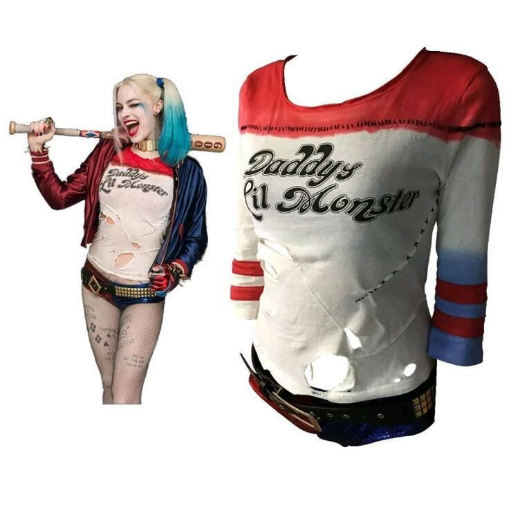 Suicide Squad Harley Quinn Cosplay Costume Lil Monster Anime T Shirts Arkham Asylum Ripped Rips Hoodie OOA5657