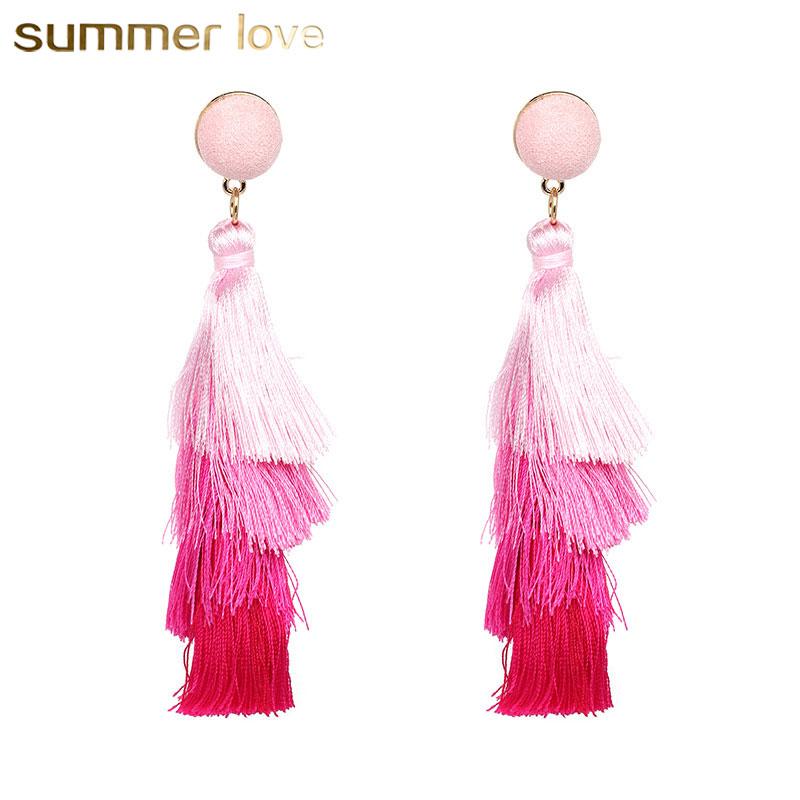 Sweet Bohemian Clip on Earrings Multi-color Tiered Fringe Thread Long Tassel for Girls Women
