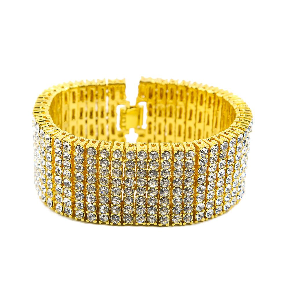 Fashion Design Men Bracelets Luxury 18K Gold Plated Chain 8 Rows Diamond Hip Hop Bracelet Fashion Jewelry Party Gift
