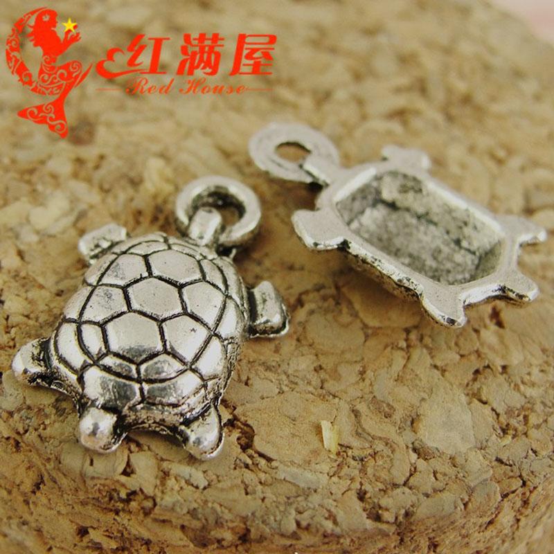 NO HOLE Antique Silver Tibetan Metal TORTOISE 3D Charms Trinket Crafts Cards
