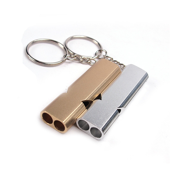 Double-hole high-frequency outdoor survival whistle life-saving whistle Emergency self-help aluminum alloy life-saving whistle