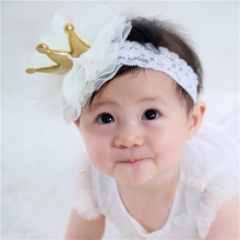 Hecho A Mano Bebé Niña Recién nacido Elástico Diadema Hairband Diamantes de Imitación Tiara Corona