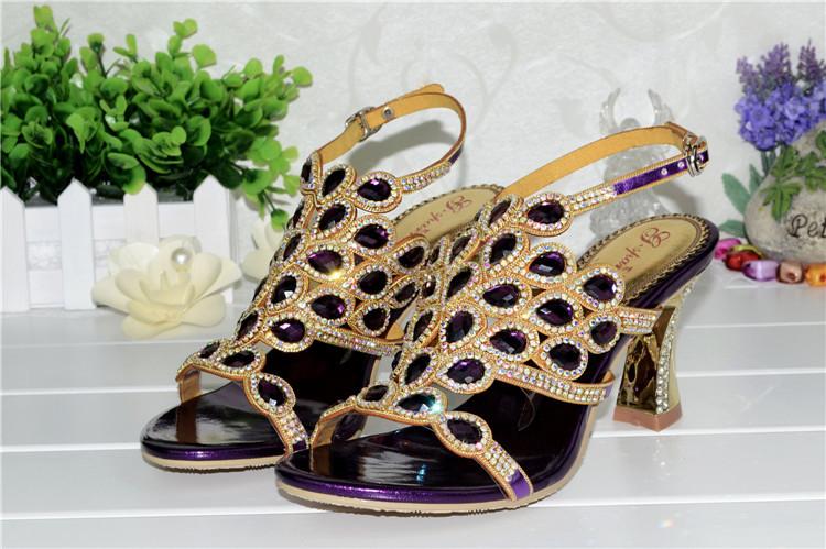 Korean Style Diamond Crystal Luxury Sandals High Heels Roman Womens Purple Evening Shoes Plus Size 11 Fashion 2016 Summer7