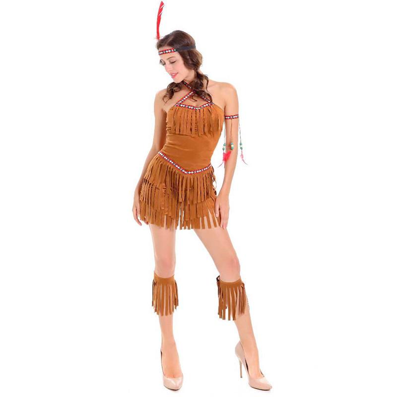 Costume vestito carnevale INDIANA SQUAW 3 pezzi donna Halloween party Costumi e travestimenti